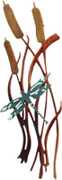 3D Wall art, decor and wall hangings of dragonfly and cattails