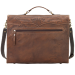 Hand Stamped Genuine Leather Laptop Briefcase back