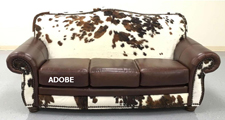 Adobe Cowhide rustic sofa