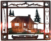 Metal Wall art, decor and wall hangings of HUNTING, FISHING CABIN