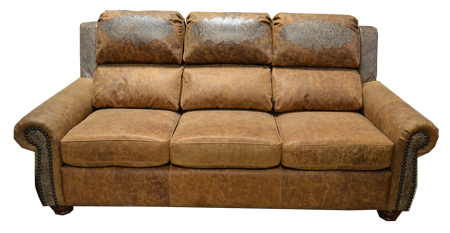 Rustic Leather Couch with Gator Embossed Accent