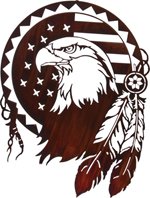 Metal Wall art, decor and wall hangings of AMERICAN FLAG EAGLE SHIELD