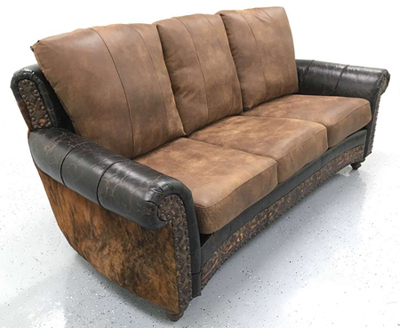 Rustic Alligator Stamped Leather Couch