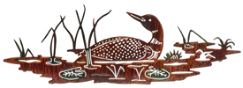 Metal Wall art, decor and wall hangings of LOONS, WATER FOWL