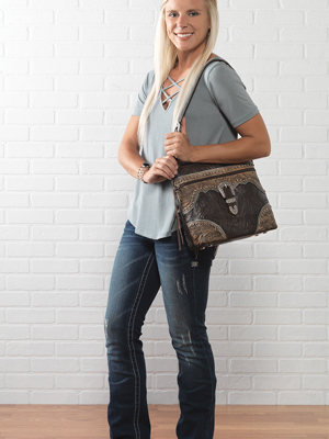 American West Saddle Ridge Zip Top Shoulder Bag Collection.
