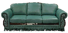 Rustic Cowhide Love Seat with fringe