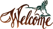Metal Wall art, decor and wall hangings of HUMMINGBIRD WELCOME SIGNr
