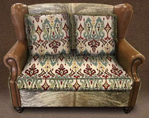 Rustic Fabric and Cowhide Settee