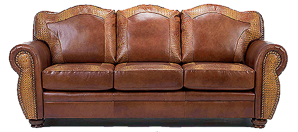 AMARILLO genuine leather with alligator accent style sofa, couch