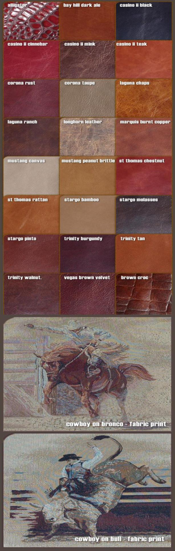 Leather and fabric color samples